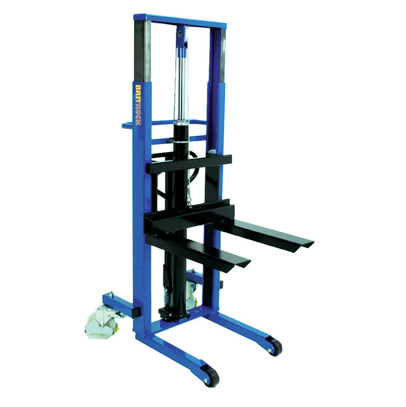 This is an example of a large, blue pallet lifter.